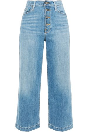 FRAME Women High Waisted - Woman Ali Wide Crop Faded High-rise Wide-leg Jeans Mid Denim Size 24
