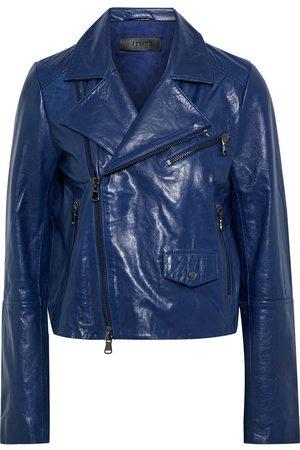 J Brand Women Leather Jackets - Woman Divine Washed-leather Biker Jacket Indigo Size S
