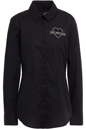 Love Moschino Women Long sleeves - Woman Crystal-embellished Stretch-cotton Poplin Shirt Size 40