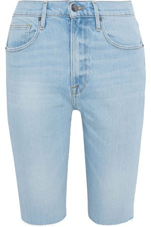 FRAME Women Bermudas - Woman Le Vintage Bermuda Frayed Denim Shorts Light Denim Size 24