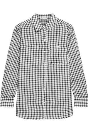 JOIE Women Long sleeves - Woman Lidelle Gingham Cotton-gauze Shirt Size L