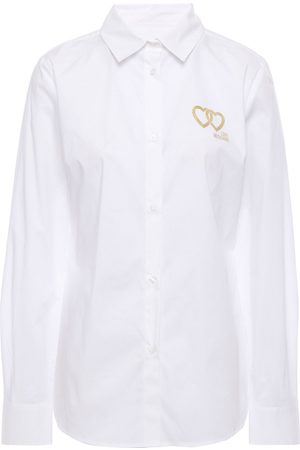 Love Moschino Women Long sleeves - Woman Metallic Printed Stretch-cotton Poplin Shirt Size 38