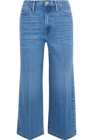 Frame Woman Ali Wide Crop High-rise Wide-leg Jeans Mid Denim Size 23