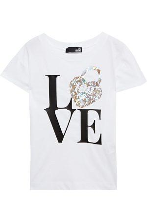 Love Moschino Woman Iridescent Printed Cotton-jersey T-shirt Size 38