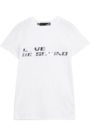 Love Moschino Women Short Sleeve - Woman Metallic Printed Embossed Cotton-jersey T-shirt Size 38