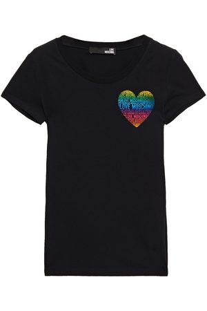 LOVE MOSCHINO Women Short Sleeve - Woman Printed Stretch-cotton Jersey T-shirt Size 38