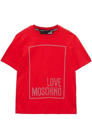 Love Moschino Woman Studded Cotton-jersey T-shirt Size 40