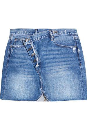 FRAME Women Mini Skirts - Woman Exposed Overlap Distressed Denim Mini Skirt Mid Denim Size 23