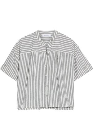 Frame Women Short sleeves - Woman Gathered Striped Linen And Cotton-blend Shirt Off- Size L