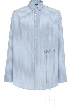 COOL Loose Striped Cotton Shirt W/embroidery