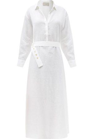 ASCENO Women Casual Dresses - Porto Belted Organic-cotton Maxi Shirt Dress - Womens