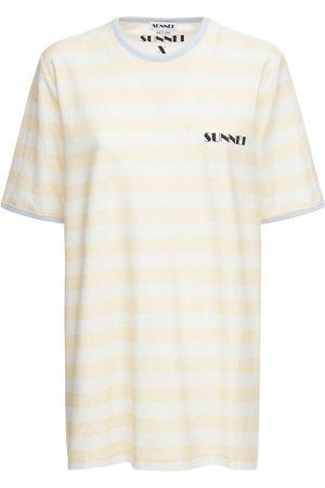 SUNNEI Women T-shirts - Striped Logo Cotton Jersey T-shirt