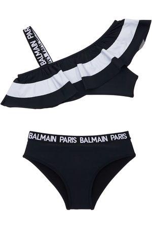 BALMAIN Striped Ruffle Bikini W/logo Bands