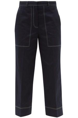 Thom Browne Women Wide Leg Pants - Contrast-stitch Cotton Wide-leg Trousers - Womens - Navy