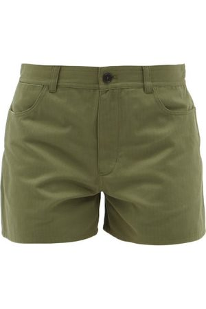 Jil Sander Herringbone-weave Cotton Shorts - Womens - Mid