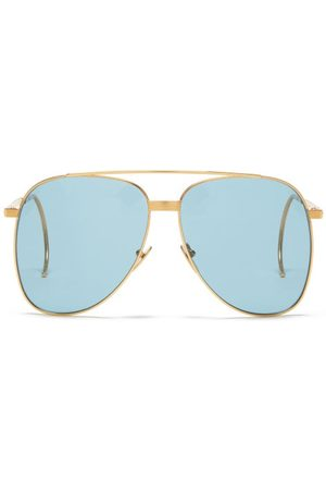 Gucci Curve-temple Aviator Metal Sunglasses - Mens