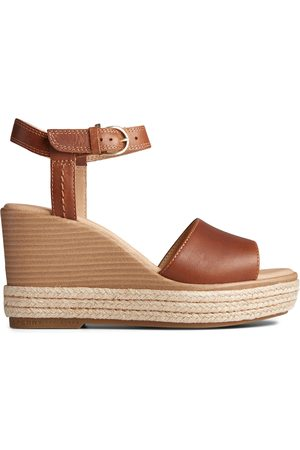 Sperry Top-Sider Women Wedge Sandals - Women's Sperry Fairwater PLUSHWAVE Wedge Sandal Tan, Size 6.5M