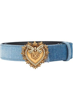 Dolce & Gabbana Women Belts - Patchwork denim Devotion belt