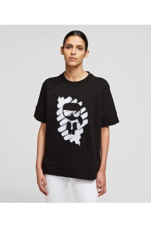 Karl Lagerfeld Women Sweatshirts - SHORT-SLEEVED IKONIK GRAFFITI SWEATSHIRT