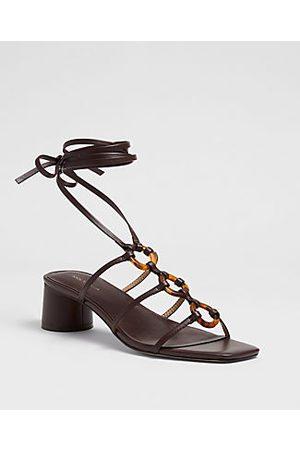 ANN TAYLOR Ruby Tortoiseshell Print Ring Leather Wrap Block Heel Sandals