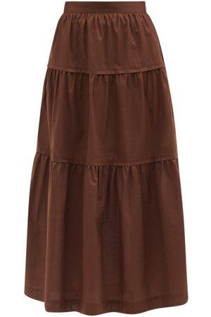 Three Graces London Omisha Tiered Cotton-poplin Midi Skirt - Womens - Dark
