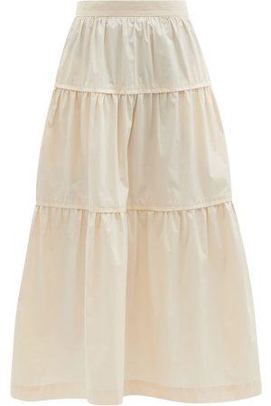Three Graces London Omisha Tiered Cotton-poplin Midi Skirt - Womens