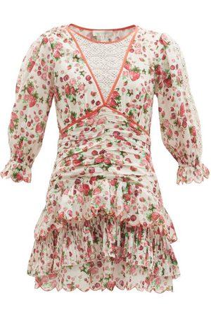 LOVESHACKFANCY Marquise Rose-print Cotton-poplin Mini Dress - Womens - Print