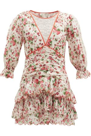 LOVESHACKFANCY Women Party Dresses - Marquise Rose-print Cotton-poplin Mini Dress - Womens - Print