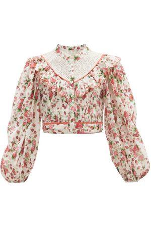 LOVESHACKFANCY Women Tops - Egan Balloon-sleeve Floral-print Cotton Top - Womens - Print