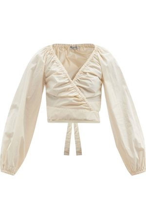 Three Graces London Women Wrap tops - Clara Cropped Cotton-poplin Wrap Top - Womens
