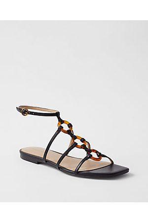 Ann Taylor Women Flat Shoes - Aaliyah Tortoiseshell Print Ring Leather Flat Sandals