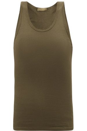 WARDROBE.NYC Women Tank Tops - Wardrobe. nyc - Ribbed Cotton-jersey Tank Top - Womens - Khaki