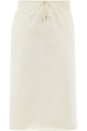 Jil Sander Women Midi Skirts - Drawstring-waist Cotton-jersey Midi Skirt - Womens - Ivory