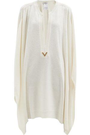 VALENTINO V-gold Longline Wool-blend Poncho - Womens - Ivory