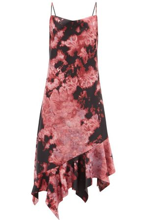 MARQUES'ALMEIDA Women Asymmetrical Dresses - Asymmetric-hem Tie-dye Satin Midi Dress - Womens