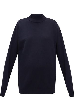 The Row Crema High-neck Jersey Sweatshirt - Womens - Navy