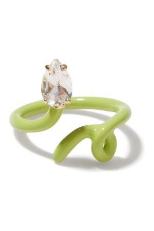 BEA BONGIASCA Women Rings - Baby Vine Crystal, 9kt Gold & Enamel Ring - Womens