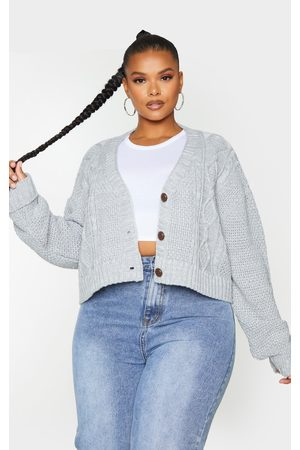 PRETTYLITTLETHING Women Cardigans - Plus Light Grey Cable Cropped Cardigan