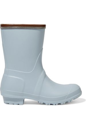 Brunello Cucinelli Woman Leather-trimmed Bead-embellished Rubber Rain Boots Sky Size 37