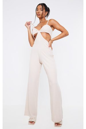 PRETTYLITTLETHING Stone Rib Strappy Cut Out Open Back Jumpsuit