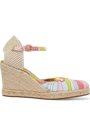 Emilio Pucci Women Wedges - Woman Printed Satin-twill Wedge Espadrilles Light Size 36