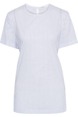 Adeam Woman Tie-back Layered Striped Poplin Top Size L