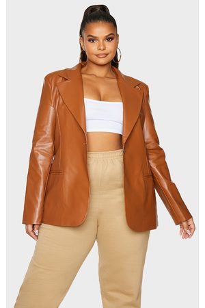 PRETTYLITTLETHING Plus Toffee Premium Faux Leather Blazer