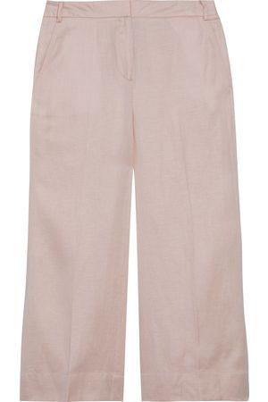 DKNY Woman Cropped Slub Twill Wide-leg Pants Pastel Size 10
