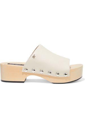 Sergio Rossi Woman Studded Leather Platform Sandals Ecru Size 36