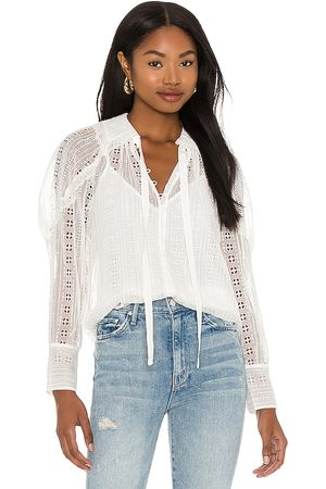 Rebecca Taylor Long Sleeve Geo Embroidery Blouse in White.