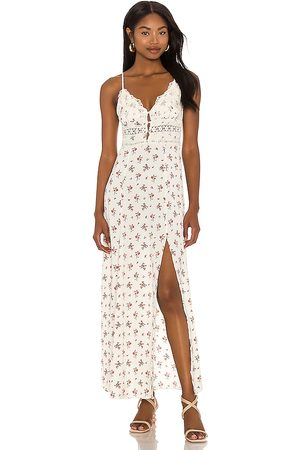 Free People Women Casual Dresses - Out And About Maxi Slip Dress in Ivory.