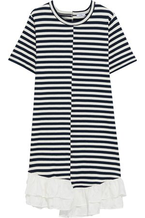 CLU Women Asymmetrical Dresses - Woman Asymmetric Ruffle-trimmed Striped Cotton-jersey Dress Navy Size L