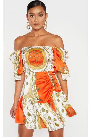 PRETTYLITTLETHING Chain Print Bardot Shift Dress