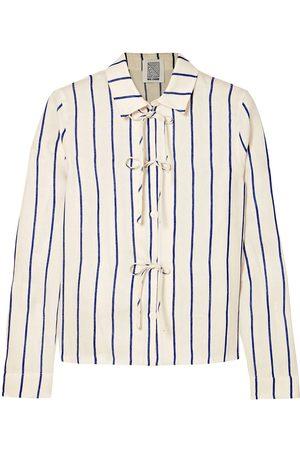 Rosie Assoulin Women Long sleeves - Woman Bow-detailed Striped Cotton-blend Jacquard Shirt Size 0